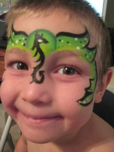 Green Envy Dragon Face Paint