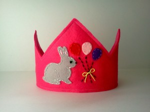 Pink Felt Bunny Rabbit Birthday Crown